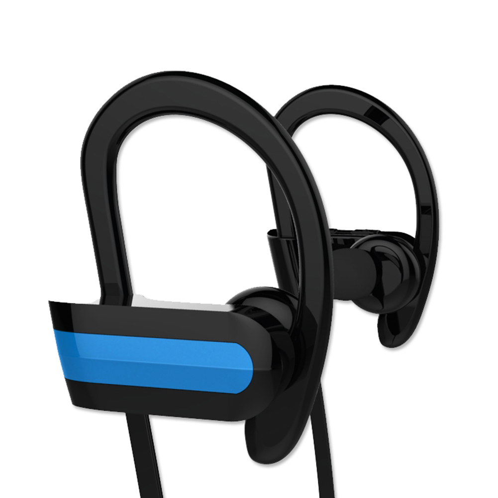 Portable Sports Running Headset Sweatproof Bluetooth 4.1 Wireless Earphone Headphone Earbuds Noise Cancelling With Mic Blue