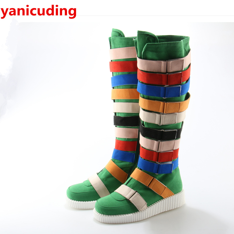 Luxury Brand Super Star Runway Boots Rainbow Color Long Booties Buckle Decor Side Zip Shoes Round Toe Knee High Hot Winter Boots round toe women boots mixed color short booties luxury brand women cool runway fashion star high heel boots buckle shoes botas