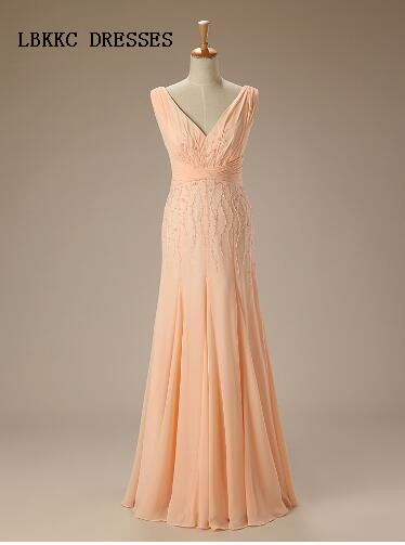 Coral Bridesmaid Dresses Mermaid Chiffon V Neck With Beaded Vestidos De Festa Robe Mariage Feestjurken