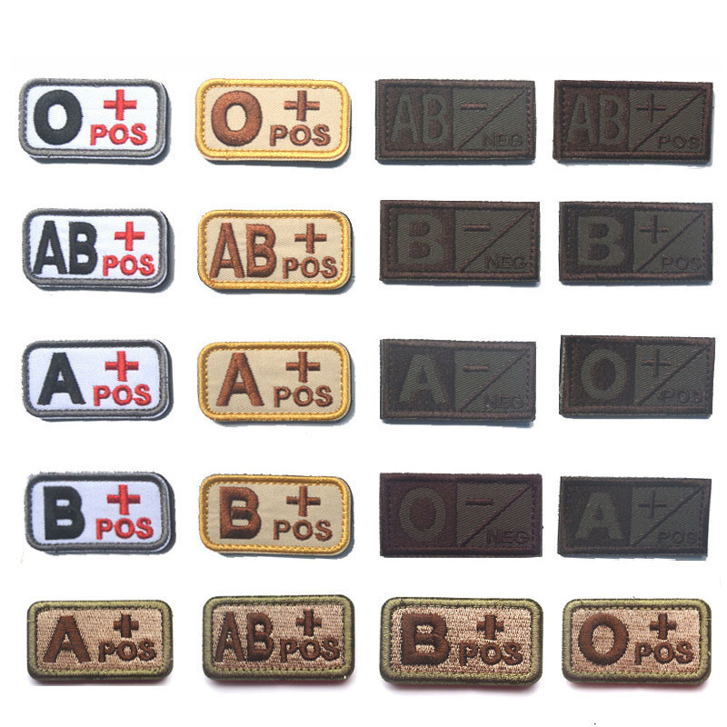 Cool Fashion Blood Type Patch Chapter A+B+AB+O+ Front POS A-B-AB-O Negative NEG Blood Type Patch Group Tactical Military Badge
