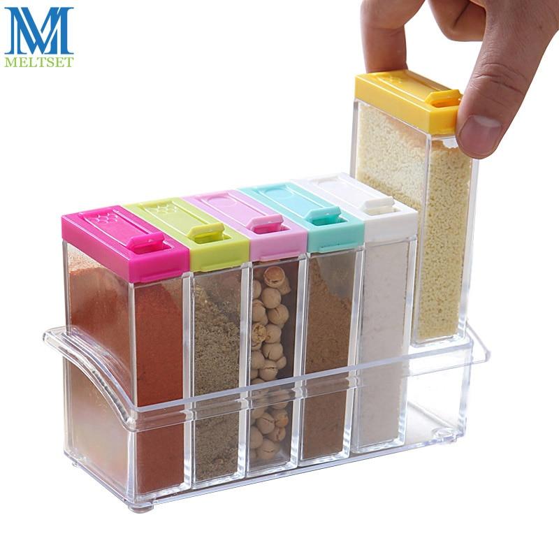 6pcs Transparent Spice Jar Set Salt and Pepper Seasoning Bottle Colorful Lid Kitchen Condiment Cruet Storage Container