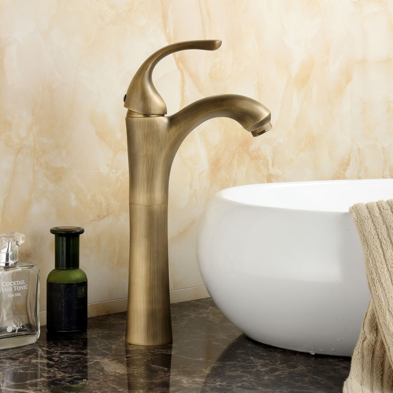 Basin Faucets Antique High Arched Single Handle Bathroom Faucet Copper Brushed Hot And Cold Water Mixer Taps Crane YD-653Basin Faucets Antique High Arched Single Handle Bathroom Faucet Copper Brushed Hot And Cold Water Mixer Taps Crane YD-653