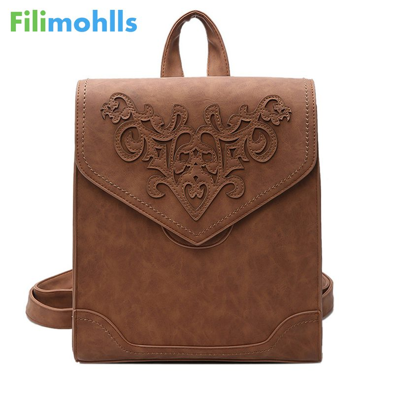 Fashion Women Leather Backpack Female Floral Bag Ladies Softback Character Embossing Backpacks Mochilas Mujer School Style S1441