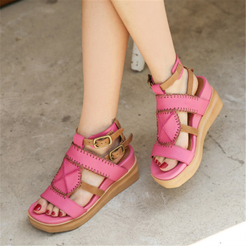 Retro Summer Women Sandals Straps Platform Shoes Woman Wedge Sandal Ladies Beach Wedges Sandalias Mujer Creepers