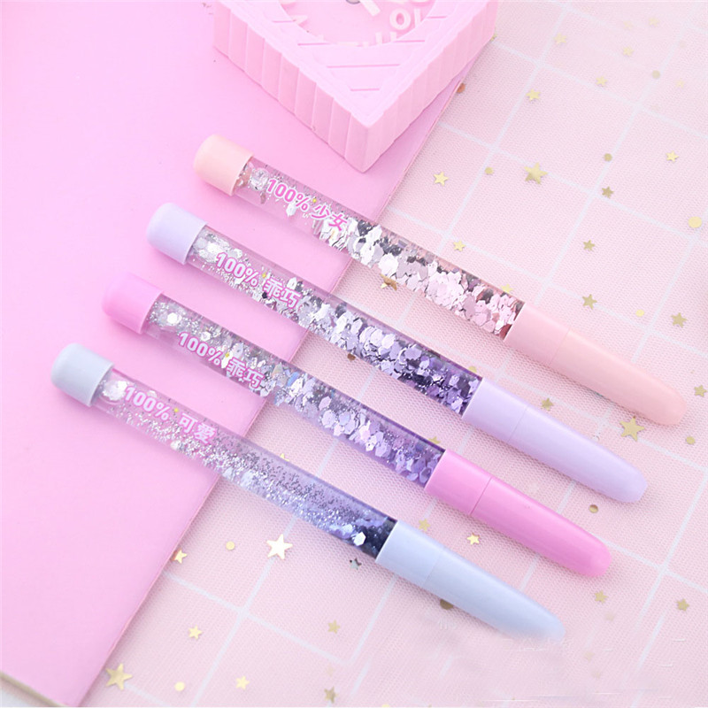 1PCS Fairy Stick Ballpoint Pen Crystal Drift Sand Glitter Gel Pen Colorful Pens For School Supplies Stationery Writing Girls Gif