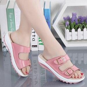 Image 5 - Kilobili נשים נעלי אבזם עור אמיתי נעלי שקופיות מוצק עבה בלעדי עקבים חוף סנדלי נשים מחוץ כפכפים קיץ