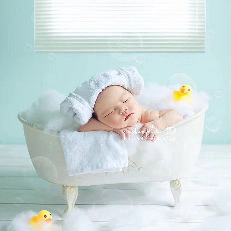 newborn Baby Photography Props Iron Shower Bathtub Fotografia Accessory Infant Toddler Studio Shooting Photo Props Gift newborn photography solid wood baskets props tiny baby picture photoshoot accessory infant photography studio fotografia props