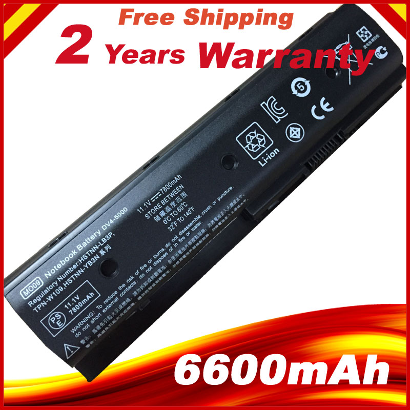 6600mAh 9 Cells Laptop Battery For HP Envy  Dv4-5200 Dv6-7200 M6 Pavilion Dv4 Dv4-5000 Dv6-7000 MO06 H2L55AA