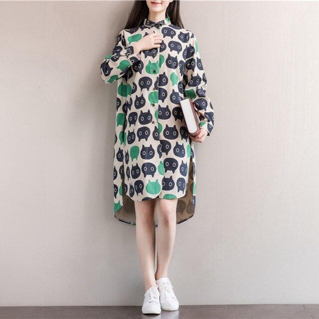 45ed3aec90 Koreański Styl Kobiety Sukienka Zima pościel Bawełniana Z Długim Rękawem  luźne Jesień Tshirt Sukienka Plus Size