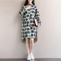 Korean Style Women Dress Winter Linen Cotton Long Sleeve Loose Autumn Tshirt Dress Plus Size Dresses