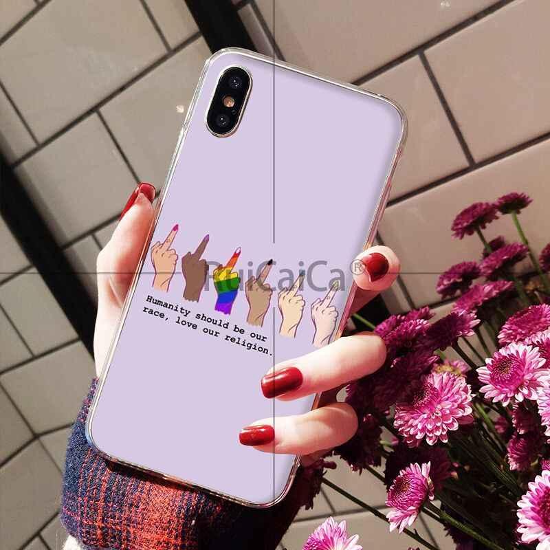 Ruicaica lesbiana Gay del arco iris LGBT orgullo de impresión de dibujo de la cubierta de la caja del teléfono Shell para iPhone X XS X MAX 6 6 S 7 7 plus 8 8 Plus 5 5S XR
