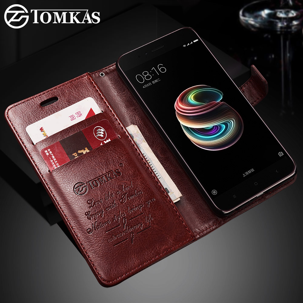 TOMKAS Wallet Case For Xiaomi Mi A1 Mi 5X Mi5X Case Cover Flip Leather Business Cases For Xiaomi