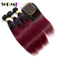 Wome Hair Burgundy Brazilian Straight Hair 3 Bundles With Closure Ombre Human Hair Bundles With Lace Closure 1b 99J Non Remy