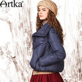 Artka Women'S Winter Vintage Windproof Turn Down Collar Full Sleeve Dovetail Hem Embroidery White Down Coat DK17832D