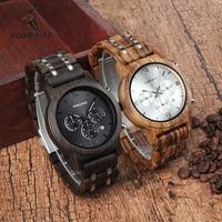 BOBO BIRD WP19 Wooden Mens Watches Newest Luxury Wood Metal Strap Chronograph Date Quartz Watch Luxury