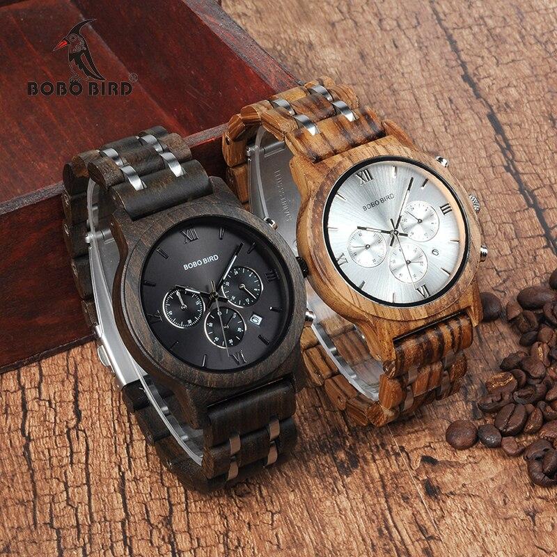 Мужские часы из дерева WP19 BOBO BIRD, новые роскошные часы из дерева, металлический ремешок, кварцевые часы с календарем и секундомером, роскошны...