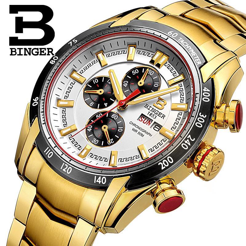 Suisse Montre homme marque de luxe Montres BINGER Mâle horloge Japon Quartz Mouvement Chronographe Plongeur glowwatch B1163-5