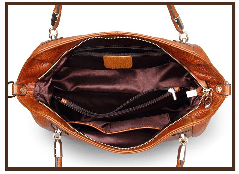 Vintage Women's Handbags Soft Genuine Leather Tote Crossbody Bag High Quality Cow Leather Shoulder Bags Female Brown Hand Bag 19