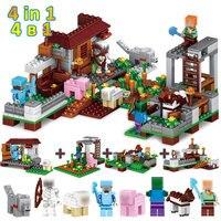 390pcs Blocks Minecrafted Village 4 In 1 Steve Skeleton Alex Figures Toys