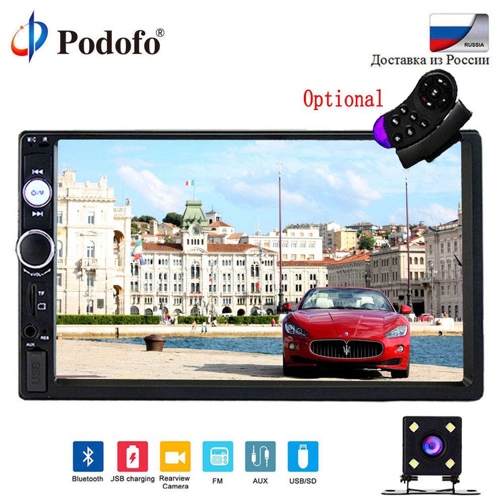 Podofo 2 din Car Radio 7 HD Audio Stereo Bluetooth Multimedia Player MP5 USB SD FM 2din Touch Screen Autoradio Rearview Camera podofo 2 din car radio 7 hd audio stereo bluetooth multimedia player mp5 usb sd fm 2din touch screen autoradio rearview camera