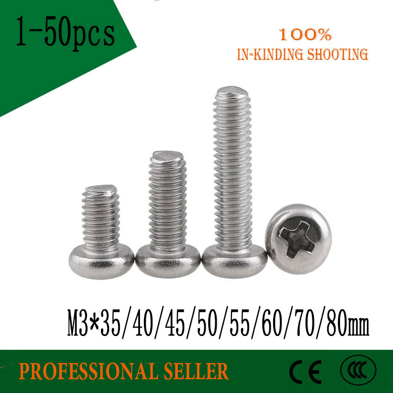 <font><b>M3</b></font>*35/40/45/50/55/60/70/<font><b>80mm</b></font> <font><b>screw</b></font> GB818 half round 304 Stainless Steel flat Phillips head cross Truss head <font><b>screw</b></font> image