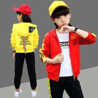 Kids Clothes 2019 new Spring Autumn Sport  letter Children's suit Cotton Long Sleeve Zipper coat+ pants 4-12 Baby Girl Clothes