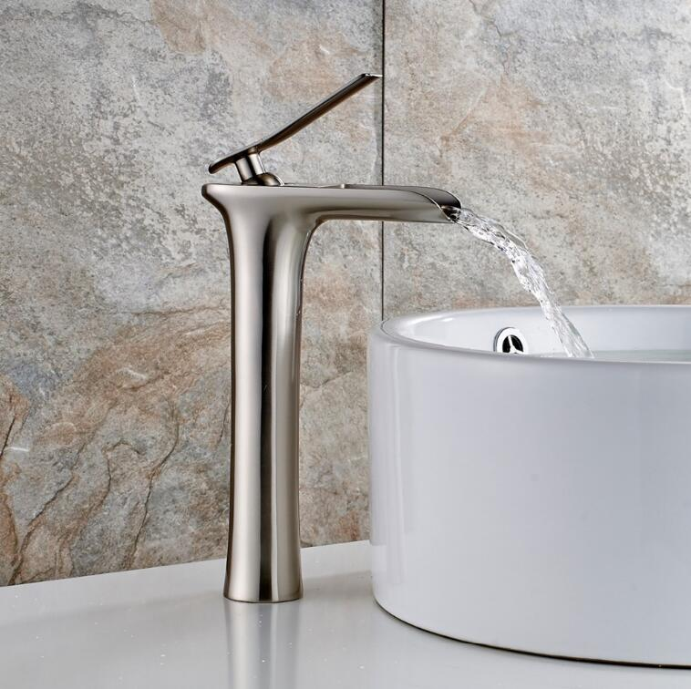 fashion high quality nickel brushed brass single lever Hot and Cold bathroom high sink waterfall faucet basin tap free shipping