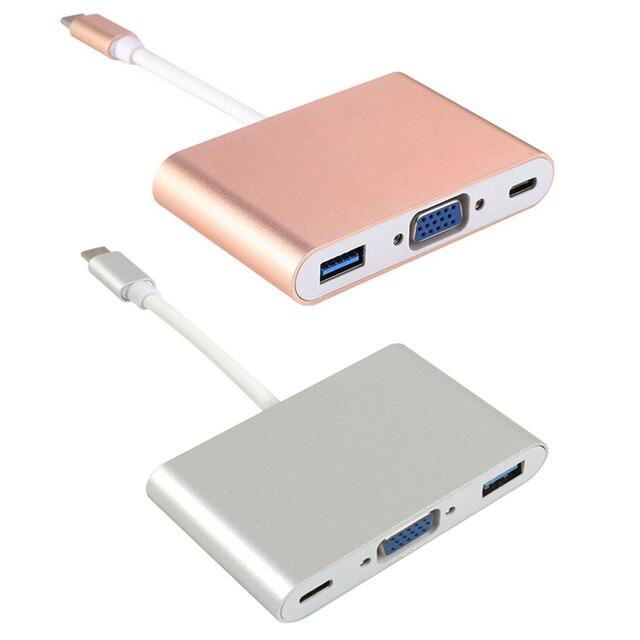 USB 3.1 Tipo C para VGA + USB3.0 + Tipo-C Cabo adaptador USB 3.0 Hub Charger Adapter Converter para Macbook USB-C