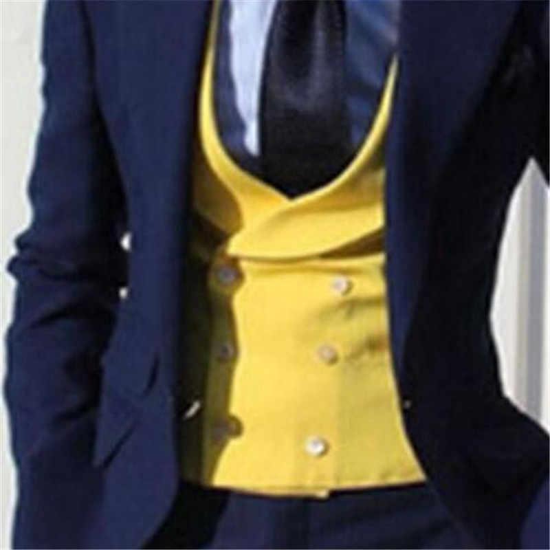 2020 黄色結婚式のチョッキメンズベストスリムフィット最新デザインファッション最高男性英国スタイル男性ベスト