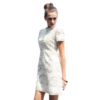 Top Quality European Runway Designer 2018 Spring Summer New Vintage Hollow Out Buttons Dress Short Sleeve