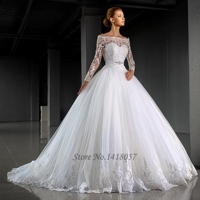 6cc7c516b6f9 Gelinlik inverno manica lunga pizzo abiti da sposa 2016 abito di sfera abito  da sposa off