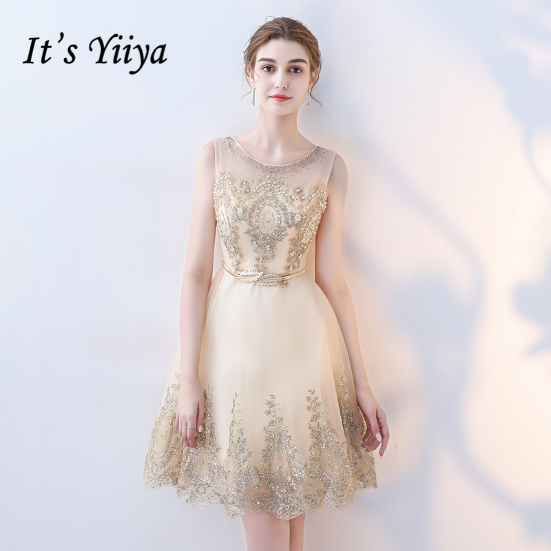 It's YiiYa Sleeveless Fashion Designer Sexy Illusion Elegant Cocktail Gowns Bling Sequind Beading Cocktail Dress LX320