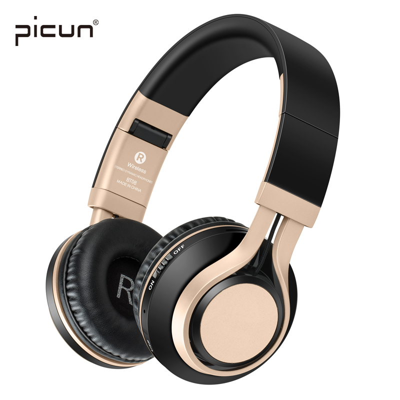 Picun BT-08  Wireless Bluetooth Headphones With Mic. Support TF Card FM Radio Stereo HIFI Gaming Headsets For Xiaomi iPhone pc wireless bluetooth headphones music earphone stereo headsets handsfree with mic fm radio tf card slot for iphone samsung xiaomi