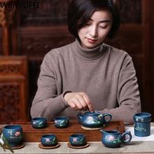 цена на A set of authentic purple sand pot pure hand-made stone pot pot raw ore green mud Tea set home gift teapot tea set gift box