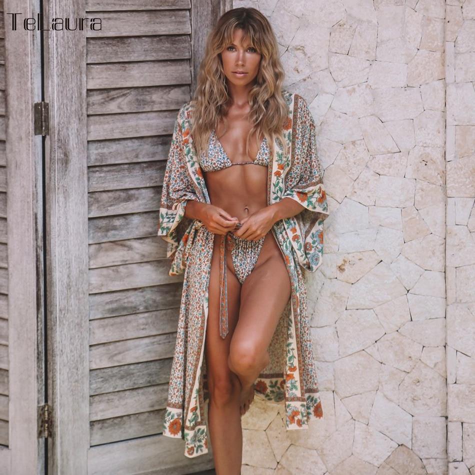 Swimsuit Cover-Up Beach-Dress Kimonos Bikini Boho Printed Women Summer Loose