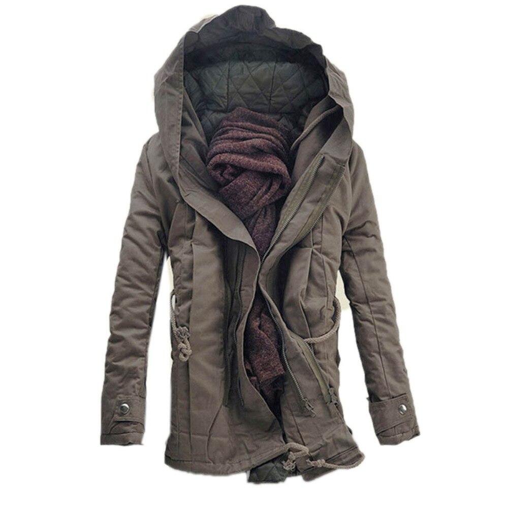 Drop ship Fashion winter warm men   parka   coat men's hooded jacket coats casual thick cotton padded zipper closed jaqueta   parkas