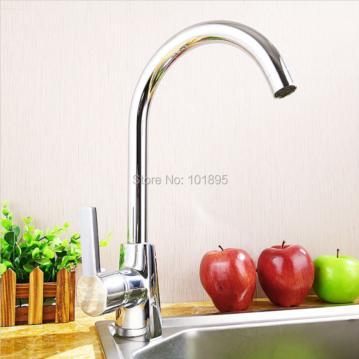 Luxury Brass Material Chrome Finishing Deck Mounted Kitchen Tap 18PCS in Lot L16765