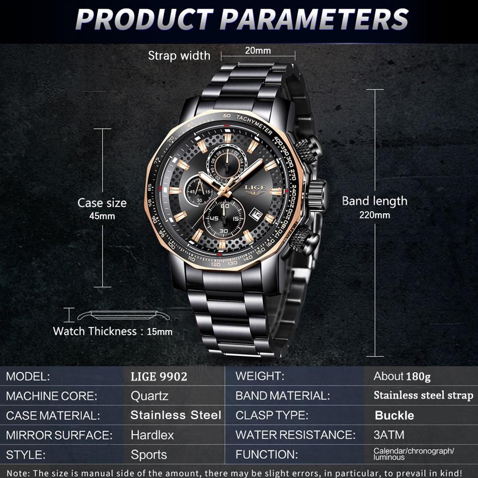 HTB1FyONaZnrK1RjSspkq6yuvXXaD Relogio Masculino LIGE New Sport Chronograph Mens Watches Top Brand Luxury Full Steel Quartz Clock Waterproof Big Dial Watch Men