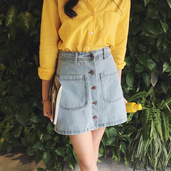 Women's Button Down Denim Skirt