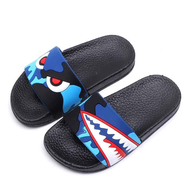 Fashion Shark Children Slippers For Boys Summer Sandals Kids Flip Flop Home Bath Shoes Baby Casual Non-slip Flat Beach Shoes