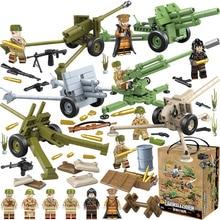 Chiarisca il WW2 Militare Sovietica Russa Soldato Figure Armi Pesanti Accessori Building Blocks Giocattoli Dei Mattoni per I Bambini