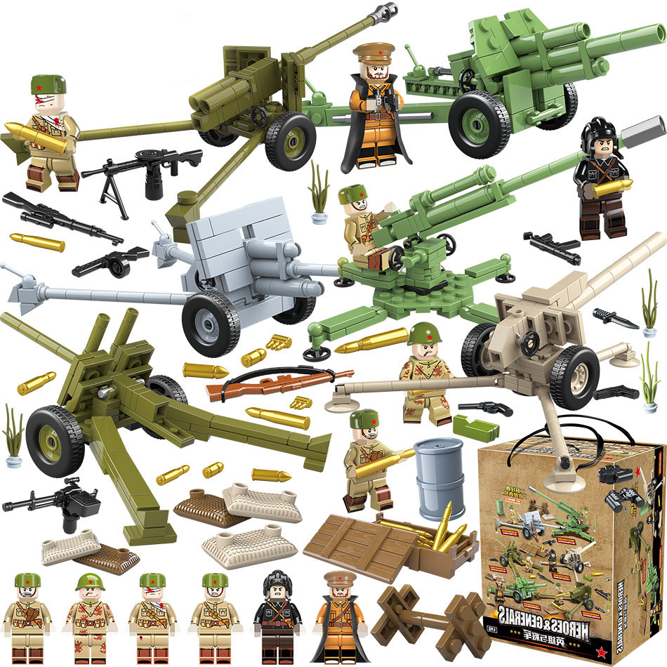 LegoINGlys WW2 Military Russian Soviet Army Soldier Figures Heavy Weapons Accessories Building Blocks Bricks Toys for Children-in Blocks from Toys & Hobbies