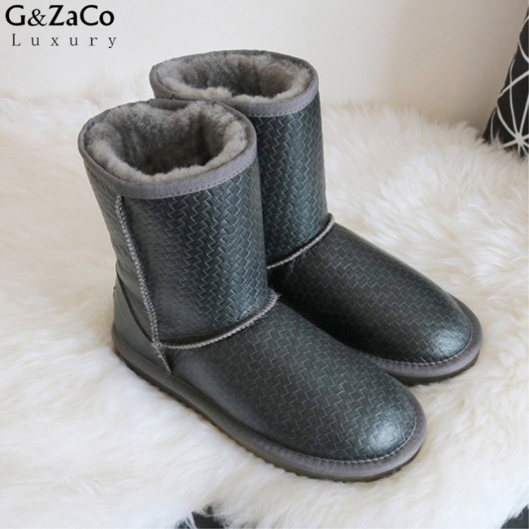 G&Zaco Luxury Brand Sheepskin Snow Boots Natural Wool Sheep Fur Boots Mid Calf Flat Women Boots Waterproof Women's Winter Shoes double buckle cross straps mid calf boots