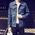 M-5XL 2017 Новая Мода Джинсовая Куртка Мужская Однобортный Повседневная отложным Воротником Куртки Man Clothing Куртки Пальто горячий продажа