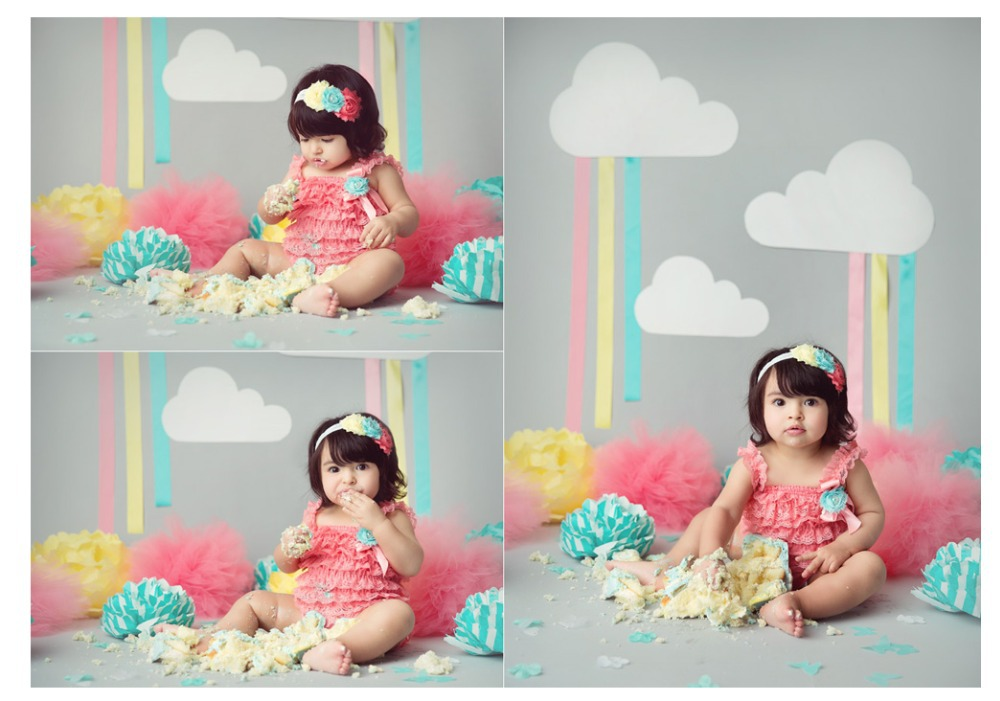 Happy bithday party grey wall white clouds photography backdrop children backdrops for school computer Printing background