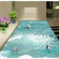 Blue Ocean PVC Wallpaper Living Room Bedroom 3D Wave Dolphin Living Room Bathroom Floor Painting Self