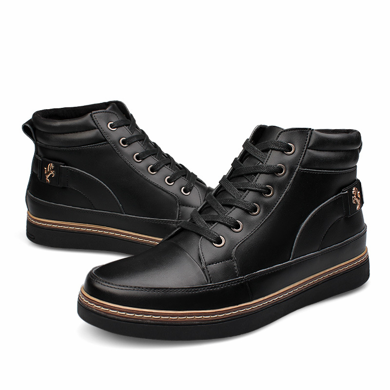 ФОТО Plus Size 37-48 Genuine Leather Men's Boots Fashion Autumn Ankle Boots for Man Winter Plush Warm Shoes Flats