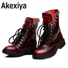 Fashion Genuine Leather Women Winter Boots Soft Leather Skull Martins Ankle Women Shoes Brand Quality Black