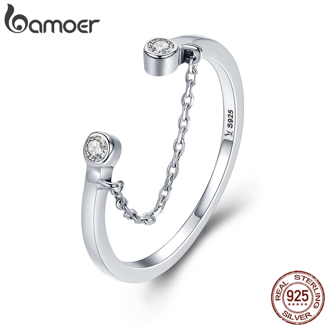 BAMOER 100% Real 925 Sterling Silver Tassel Adjustable Clear CZ Finger Ring Wome