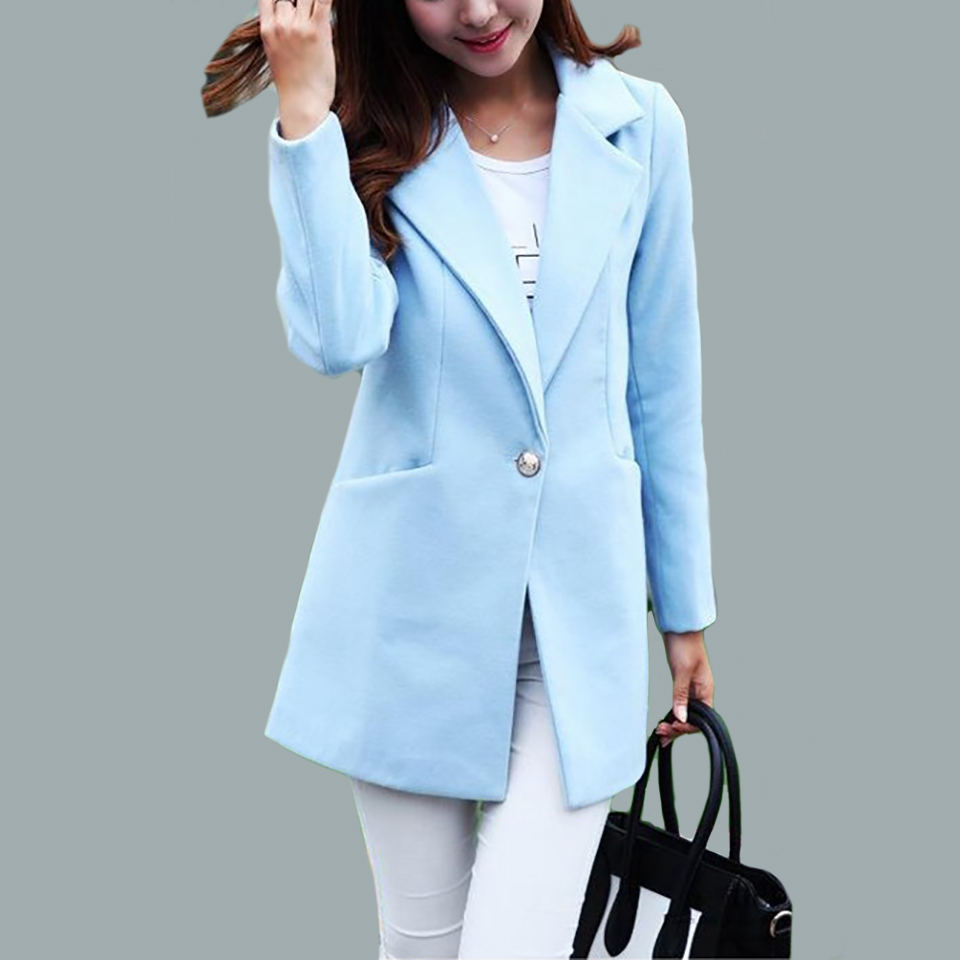 Fashion Women Turn down Collar Single Breasted woollen cloth coat and long sections woolen coat Jacket